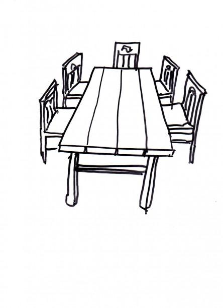 htable de ferme avec 5 chaises044